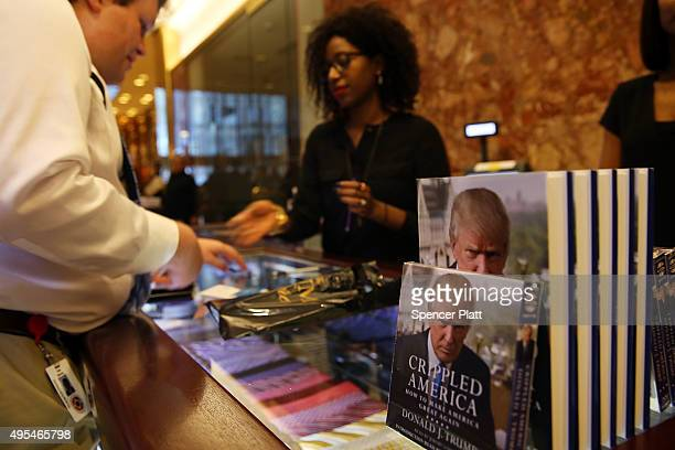 Republican presidential candidate Donald Trump's new book 'Crippled America How to Make America Great Again' is displayed at the Trump Tower Atrium...