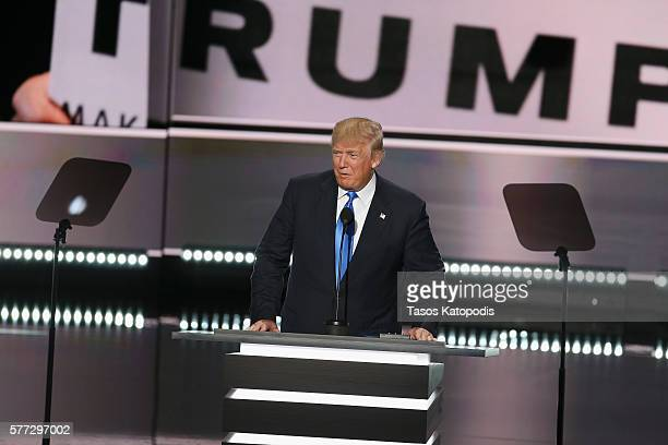 Republican presidential candidate Donald Trumps speaks during the Republican National Convention at Quicken Loans Arena on July 18, 2016 in...