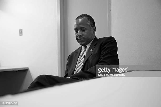 Republican presidential candidate Dr. Ben Carson backstage before speaking at a rally at the Anaheim Convention Center, September 9, 2015.
