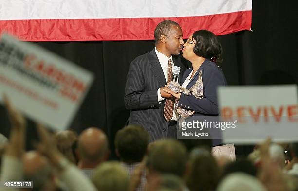 Republican presidential candidate Dr Ben Carson kisses his wife Candy during campaign rally on September 22 2015 in Sharonville Ohio Carson came...