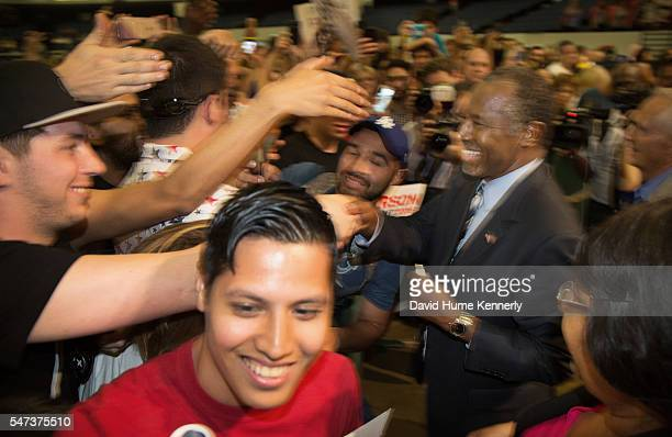 Republican presidential candidate Dr. Ben Carson meets supporters following a rally at the Anaheim Convention Center, September 9, 2015.