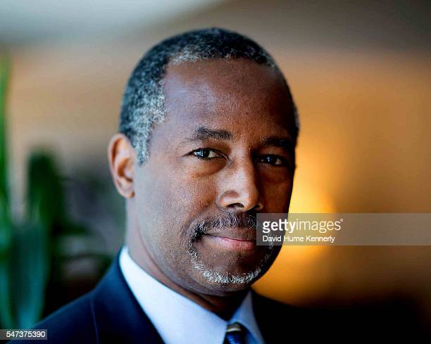 Republican presidential candidate Dr. Ben Carson poses for a portrait while waiting to speak at a rally at the Anaheim Convention Center, September...