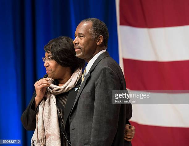 Republican presidential candidate Dr Ben Carson with his wife Candy Carson campaigning at Nashua Community College in Nashua NH on December 202015