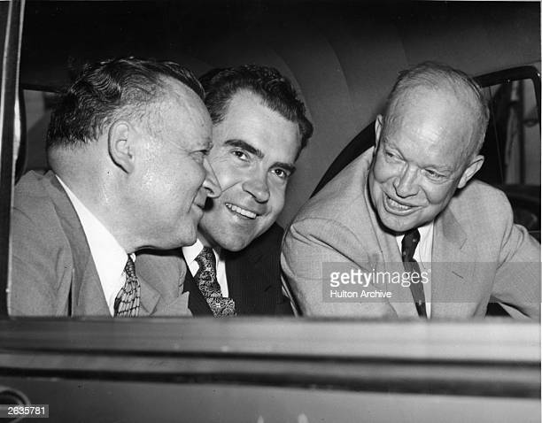 Republican presidential candidate Dwight D Eisenhower, right, with running mate Richard Nixon, centre, and Arthur Summerfield, chairman of the...