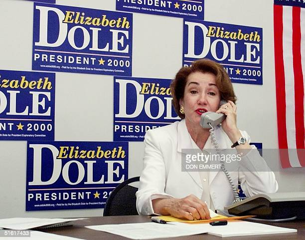 Republican presidential candidate Elizabeth Dole makes GetOutTheVote calls from her Iowa campaign headquarters 13 August in Des Moines Dole is in the...