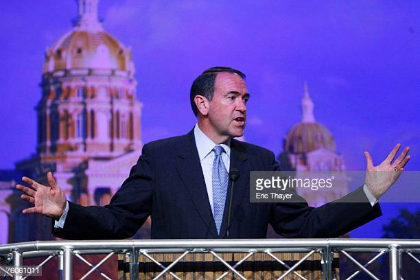 Republican presidential candidate former Arkansas Governor Mike Huckabee speaks at the Iowa Straw Poll August 11 2007 in Ames Iowa An estimated 40000...