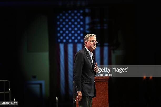 Republican presidential candidate former Florida Gov Jeb Bush speaks during the Sunshine Summit conference being held at the Rosen Shingle Creek on...