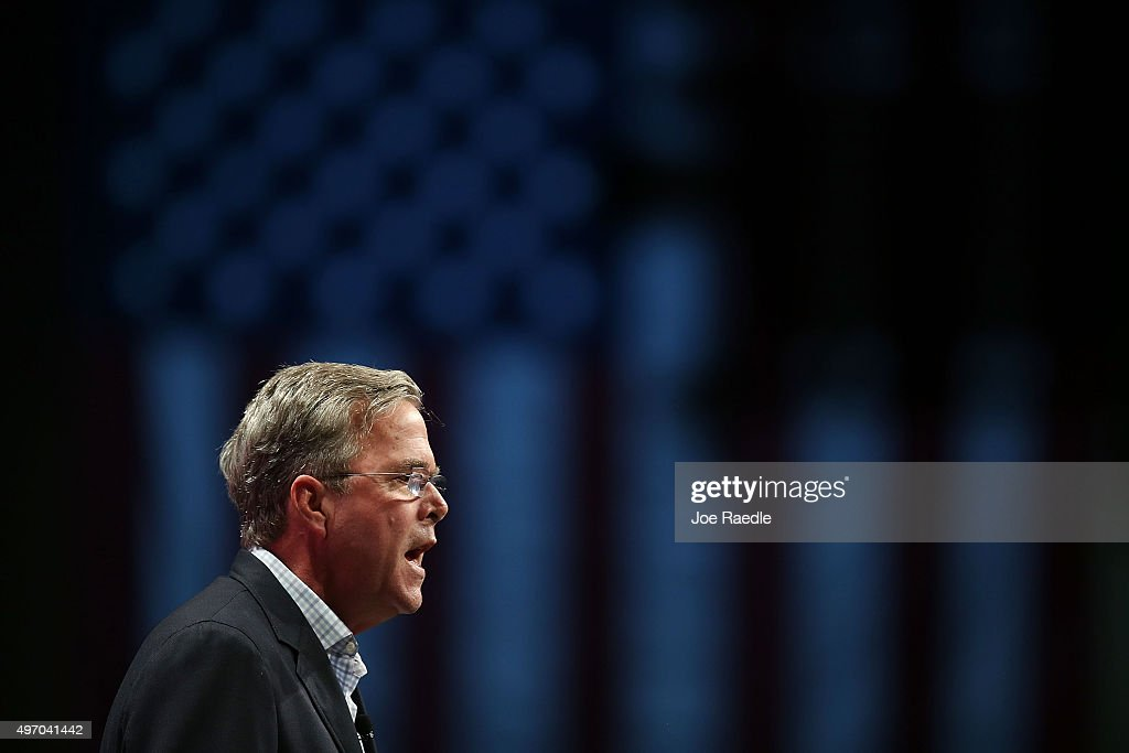 Republican presidential candidate former Florida Gov. Jeb Bush speaks during the Sunshine Summit conference being held at the Rosen Shingle Creek on November 13, 2015 in Orlando, Florida. The summit brought Republican presidential candidates in front of the Republican voters.