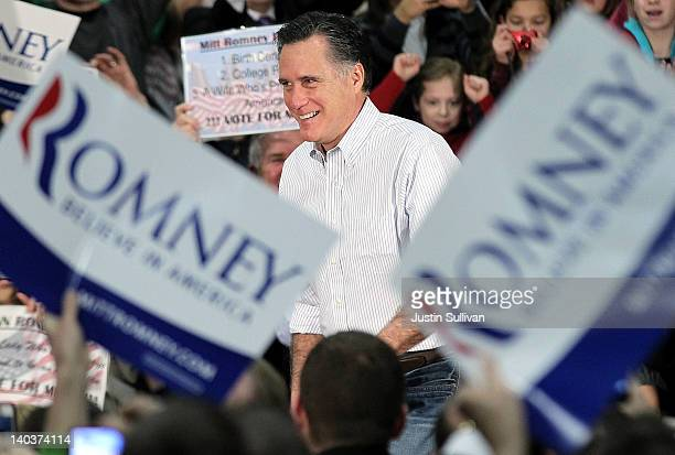 Republican presidential candidate former Massachusetts Gov Mitt Romney speaks during a campaign rally at Highland Community Center on March 2 2012 in...