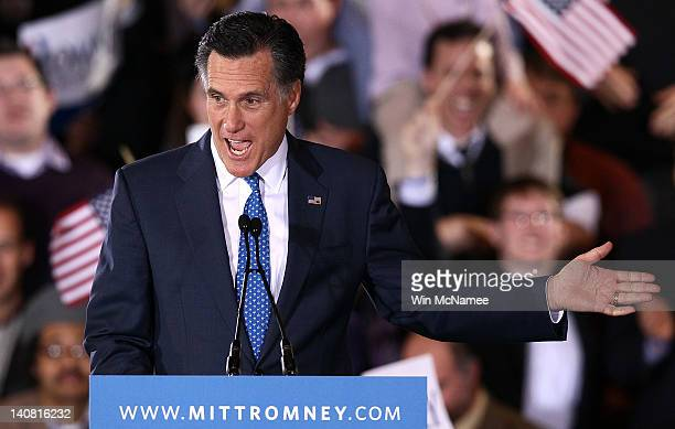 Republican presidential candidate former Massachusetts Gov Mitt Romney speaks during a Super Tuesday event at the Westin Copley Place March 6 2012 in...
