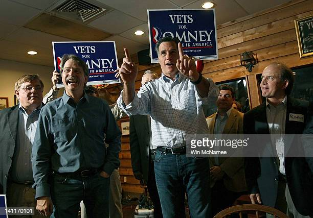 Republican presidential candidate former Massachusetts Gov Mitt Romney makes a campaign appearance with comedian Jeff Foxworthy at the Whistle Stop...