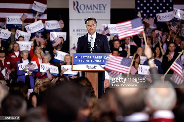 Republican presidential candidate former Massachusetts Gov Mitt Romney addresses supporters during a campaign rally titled A Better America Begins...