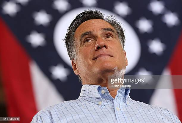 Republican presidential candidate former Massachusetts Gov Mitt Romney speaks during a campaign rally at Union Terminal on September 1 2012 in...