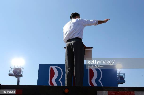 Republican presidential candidate former Massachusetts Gov Mitt Romney speaks during a campaign rally on October 5 2012 in Abingdon Viriginia Mitt...
