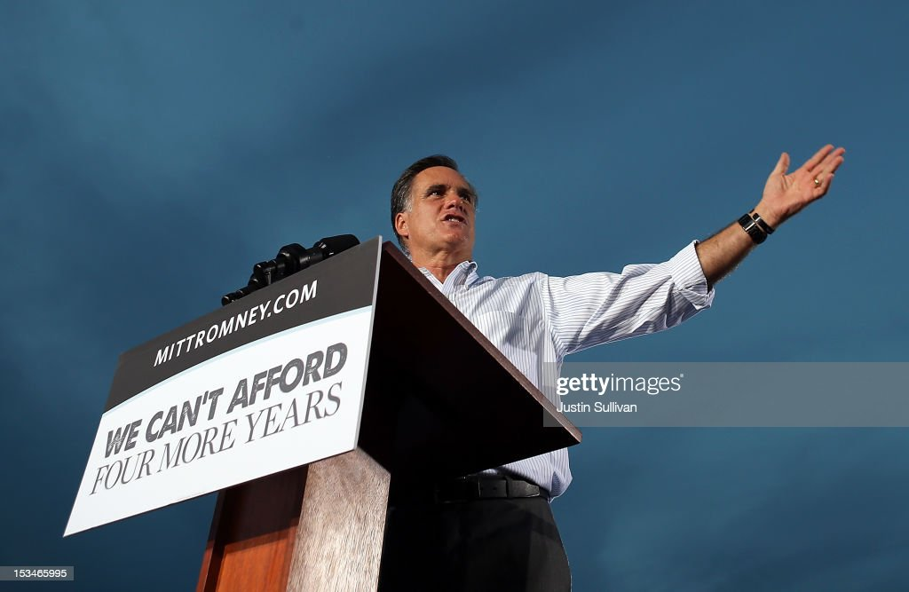 Republican presidential candidate, former Massachusetts Gov. Mitt Romney speaks during a victory rally at Pier Park on October 5, 2012 in St Petersburg, Florida. Mitt Romney is campaigning in Virginia coal country and in Florida.