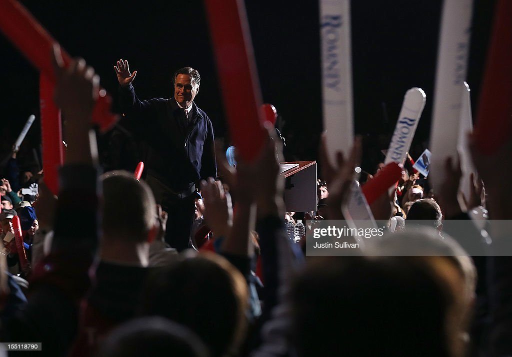 Republican presidential candidate, former Massachusetts Gov. Mitt Romney greets supporters during a campaign event at Farm Bureau Live on November 1, 2012 in Virginia Beach, Virginia. With less than one week to go until election day, Mitt Romney is campaigning in Virginia.