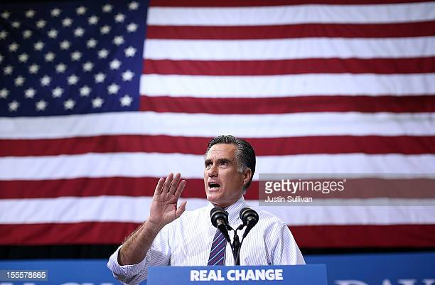 Republican presidential candidate former Massachusetts Gov Mitt Romney speaks during a campaign rally at George Mason University on November 5 2012...