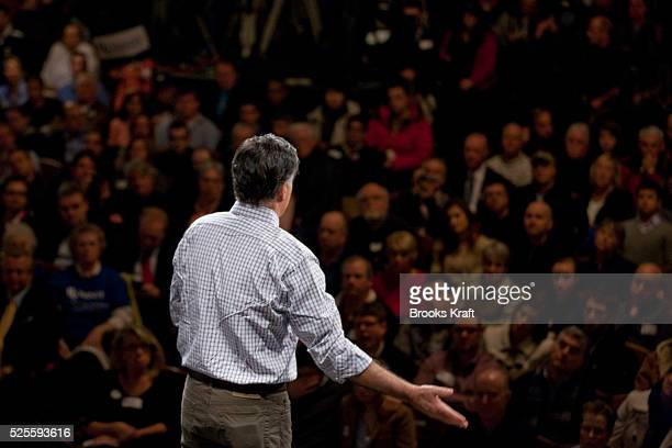 Republican presidential candidate former Massachusetts Gov Mitt Romney speaks during a campaign rally at the Rochester Opera House in Rochester New...