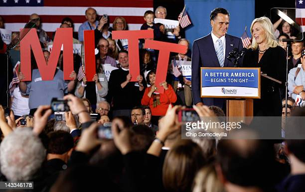 Republican presidential candidate former Massachusetts Gov Mitt Romney and his wife Ann Romney address a campaign rally titled A Better America...