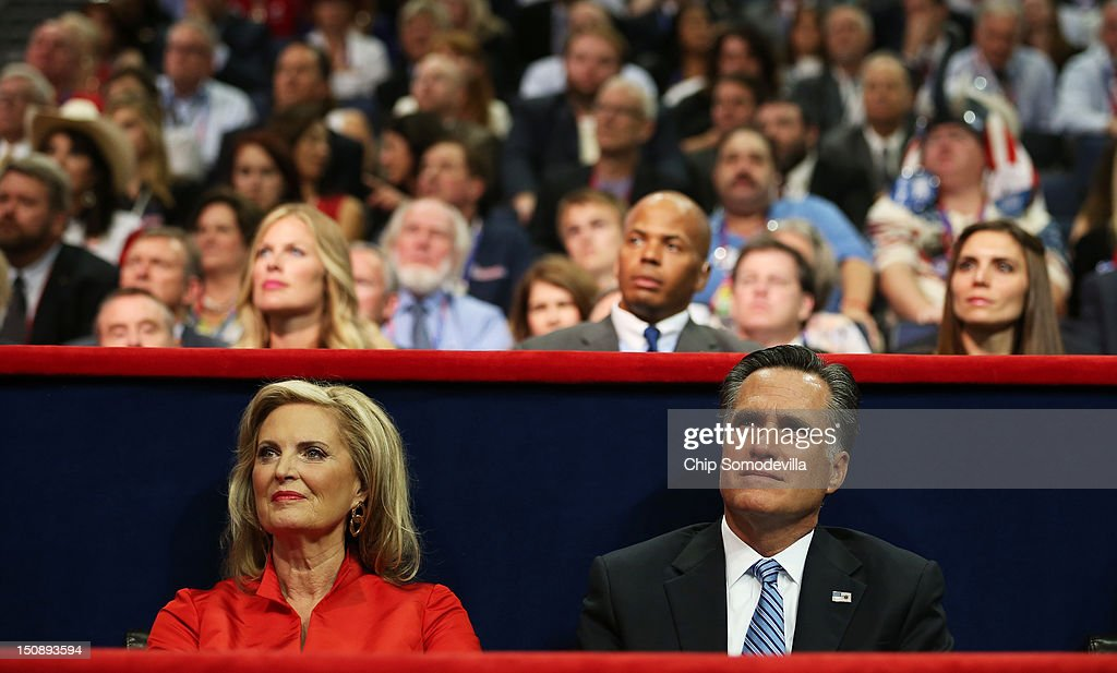 Republican presidential candidate, former Massachusetts Gov. Mitt Romney and his wife, Ann Romney listen as New Jersey Gov. Chris Christie delivers the keynote address during the Republican National Convention at the Tampa Bay Times Forum on August 28, 2012 in Tampa, Florida. Today is the first full session of the RNC after the start was delayed due to Tropical Storm Isaac.