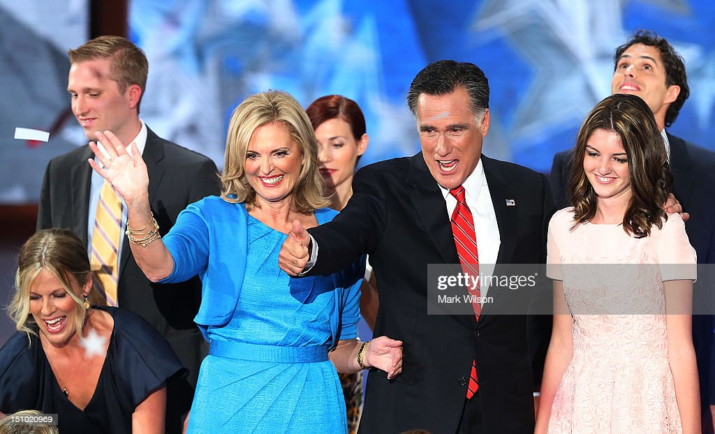 Republican presidential candidate, former Massachusetts Gov. Mitt Romney (2R) and his wife, Ann Romney stand on stage with their family after accepting the nomination during the final day of the Republican National Convention at the Tampa Bay Times Forum on August 30, 2012 in Tampa, Florida. Former Massachusetts Gov. Mitt Romney was nominated as the Republican presidential candidate during the RNC which will conclude today.