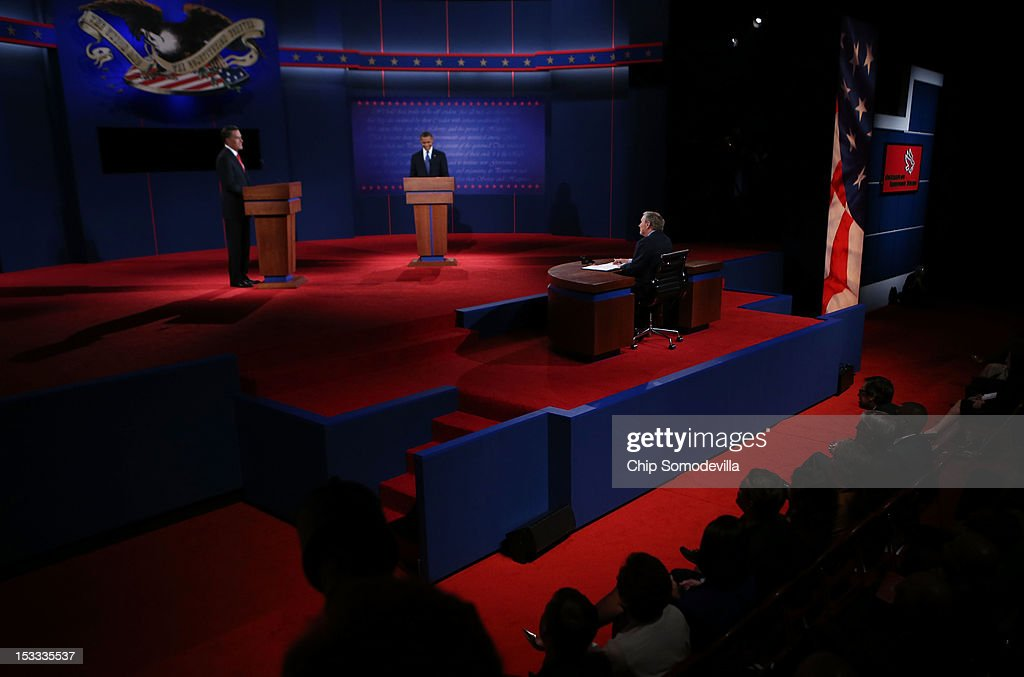 Obama And Romney Square Off In First Presidential Debate In Denver : News Photo