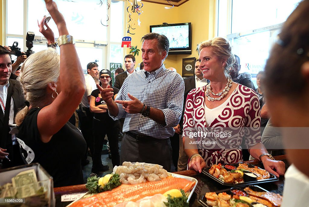 Republican presidential candidate, former Massachusetts Gov. Mitt Romney and his wife Ann Romney greet workers at the Tin Fish restaurant following a rally at Tradition Town Square on October 7, 2012 in Port St. Lucie, Florida. Mitt Romney is campaigning in Florida before traveling to Virginia where he is scheduled to give a foreign policy speech at the Virginia Military Institute.
