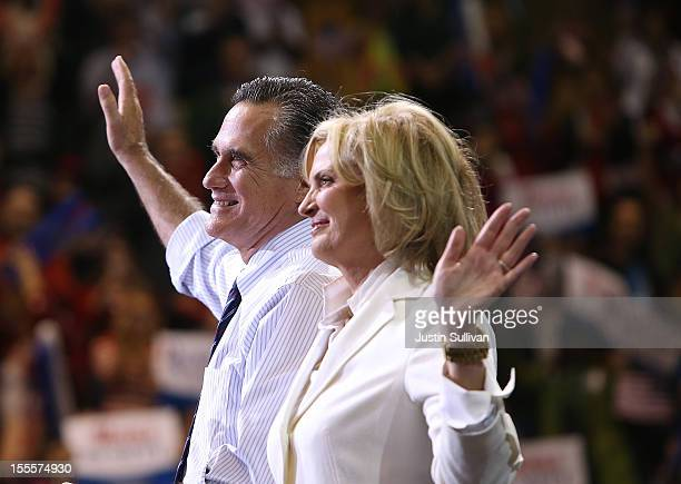 Republican presidential candidate former Massachusetts Gov Mitt Romney and his wife Ann Romney greet supporters during a campaign rally at George...