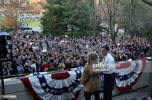 Republican presidential candidate former Massachusetts Gov Mitt Romney and his wife Ann Romney speak to an overflow crowd during a campaign rally at...