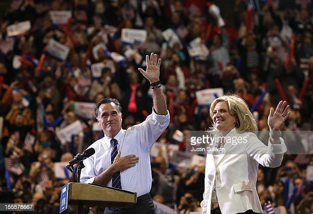 Republican presidential candidate former Massachusetts Gov Mitt Romney and his wife Ann Romney greets supporters during a campaign rally at George...