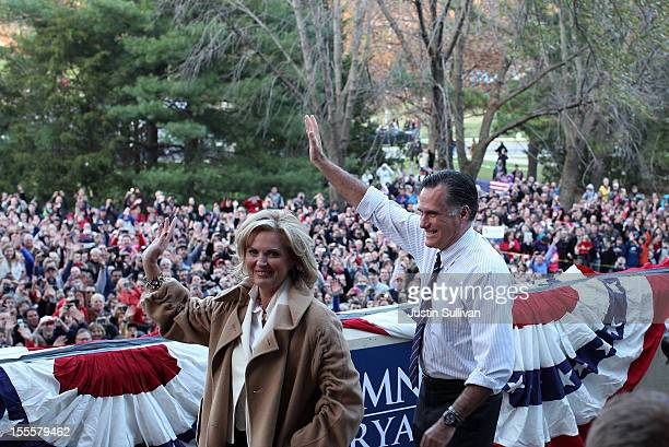Republican presidential candidate former Massachusetts Gov Mitt Romney and his wife Ann Romney greet an overflow crowd during a campaign rally at...