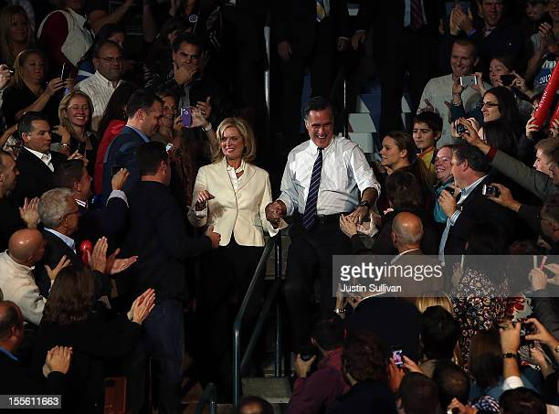 Republican presidential candidate former Massachusetts Gov Mitt Romney and his wife Ann Romney are greeted by supporters during his final campaign...