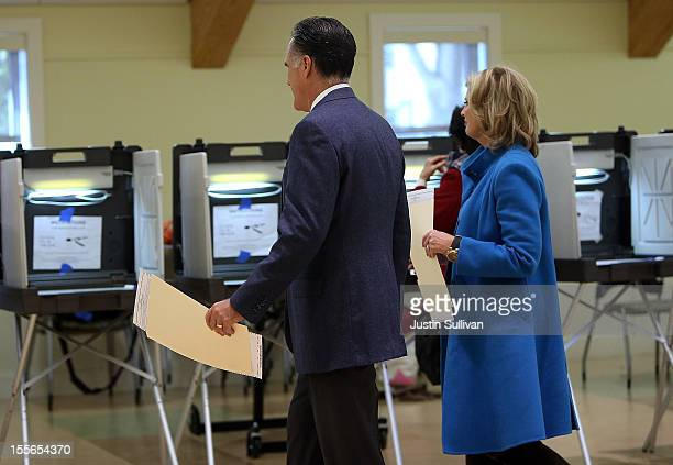 Republican presidential candidate, former Massachusetts Gov. Mitt Romney and his wife Ann Romney prepare to cast their ballots at Beech Street Center...