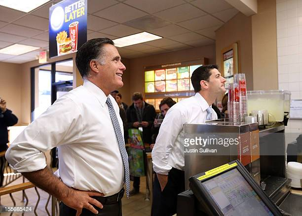 Republican presidential candidate former Massachusetts Gov Mitt Romney and his running mate Rep Paul Ryan order food at a Wendy's restuarant on...