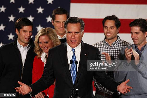 Republican presidential candidate former Massachusetts Gov Mitt Romney speaks as his wife Ann Romney and their sons Josh Matt Craig and Tagg look on...