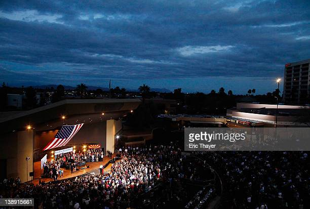 Republican presidential candidate former Massachusetts Gov Mitt Romney speaks at a Get out the Vote Rally February 13 2012 in Mesa Arizona Romney...