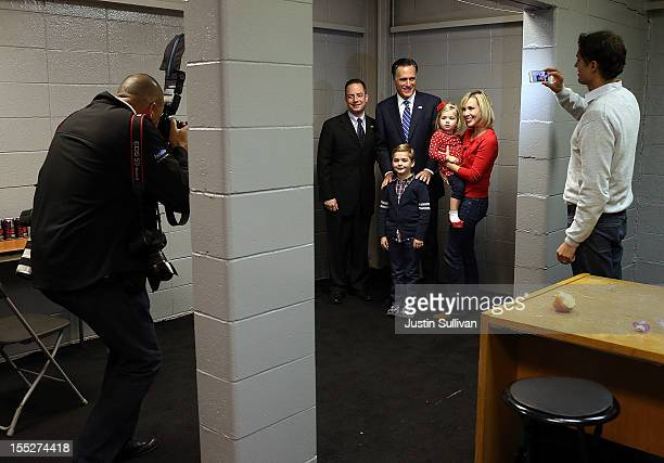 Republican presidential candidate former Massachusetts Gov Mitt Romney has his photo taken with Republican National Committee chairman Reince Priebus...