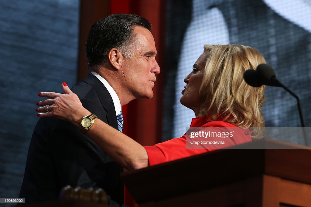 Republican presidential candidate, former Massachusetts Gov. Mitt Romney kisses his wife, Ann Romney on stage during the Republican National Convention at the Tampa Bay Times Forum on August 28, 2012 in Tampa, Florida. Today is the first full session of the RNC after the start was delayed due to Tropical Storm Isaac.