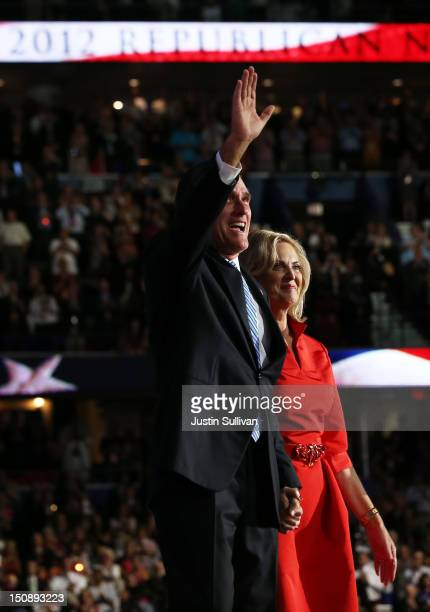 Republican presidential candidate, former Massachusetts Gov. Mitt Romney joins his wife, Ann Romney on stage during the Republican National...