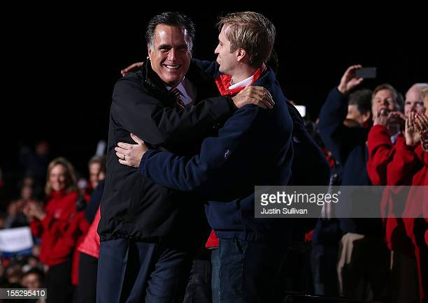 Republican presidential candidate former Massachusetts Gov Mitt Romney hugs his son Ben Romney during a campaign rally at The Square at Union Centre...