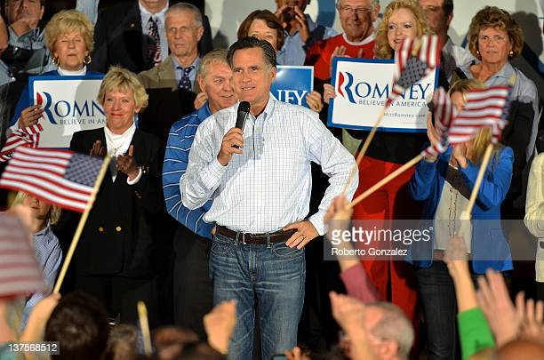 Republican presidential candidate former Massachusetts Gov Mitt Romney kicks off his Florida campaign with a rally at AllStar Building Materials...
