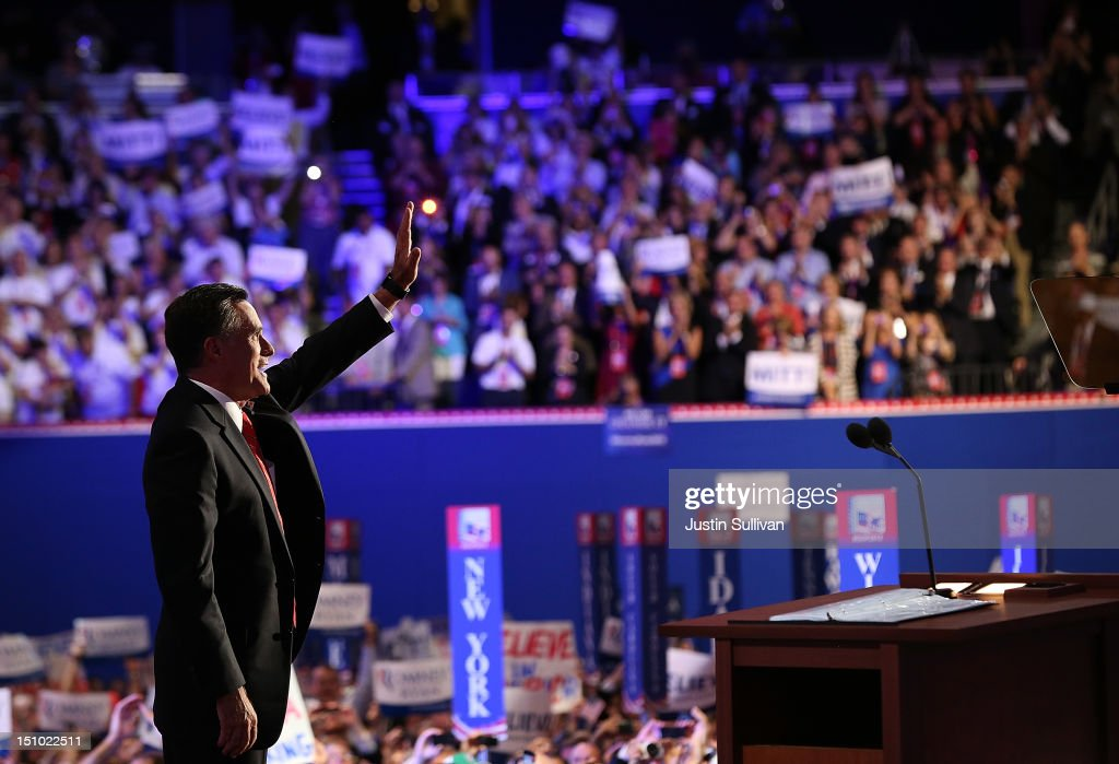 Republican presidential candidate, former Massachusetts Gov. Mitt Romney waves on stage after accepting the nomination during the final day of the Republican National Convention at the Tampa Bay Times Forum on August 30, 2012 in Tampa, Florida. Former Massachusetts Gov. Mitt Romney was nominated as the Republican presidential candidate during the RNC which will conclude today.
