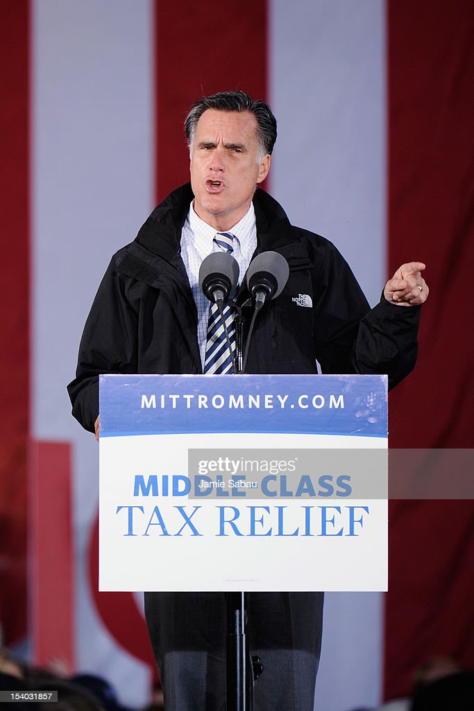 Republican presidential candidate, former Massachusetts Gov. Mitt Romney speaks on stage during a town square rally on October 12, 2012 in Lancaster, Ohio. Romney was campaining a day after running mate U.S. Rep. Paul Ryan (R-WI) debated U.S. Vice President Joe Biden.