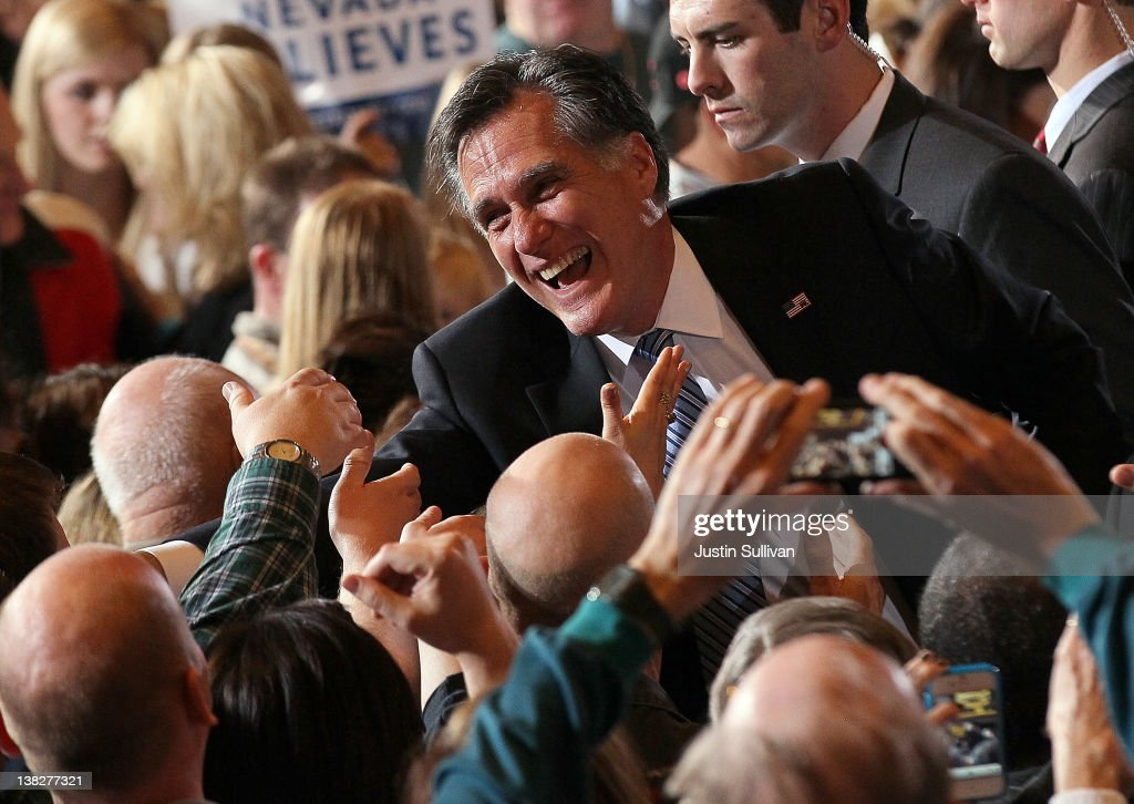 Republican presidential candidate, former Massachusetts Gov. Mitt Romney greets supporters during an election party at the Red Rock Casino February 4, 2012 in Las Vegas, Nevada. According to early results, Romney defeated former Speaker of the House Newt Gingrich, former U.S. Sen. Rick Santorum and U.S. Rep. Ron Paul (R-TX) to win the Nevada caucus.
