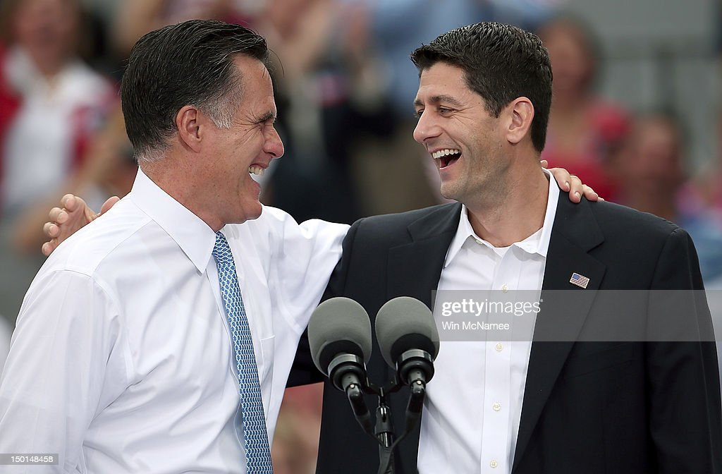 Republican Presidential Candidate Mitt Romney Announces Rep. Paul Ryan As His Vice Presidential Pick : News Photo