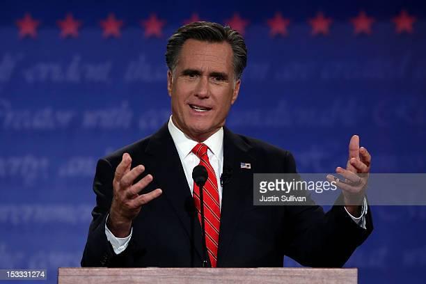 Republican presidential candidate former Massachusetts Gov Mitt Romney speaks during the Presidential Debate at the University of Denver on October 3...