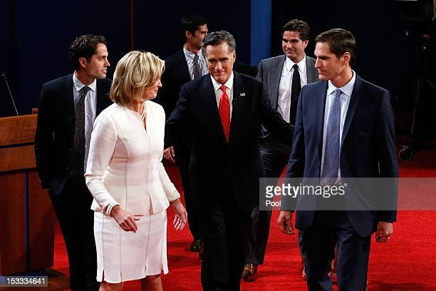 Republican presidential candidate former Massachusetts Gov Mitt Romney along with his family Craig Romney wife Ann Romney Matt Romney Tagg Romney and...