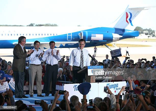 Republican presidential candidate former Massachusetts Gov Mitt Romney speaks during campaign rally at Tampa International Airport on October 31 2012...