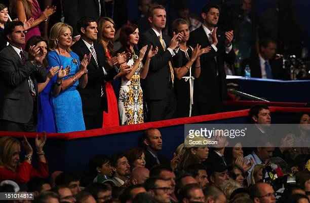 Republican presidential candidate former Massachusetts Gov Mitt Romney's son Tagg Romney with wife Jenn Romney Mitt's wife Ann Romney son Josh Romney...
