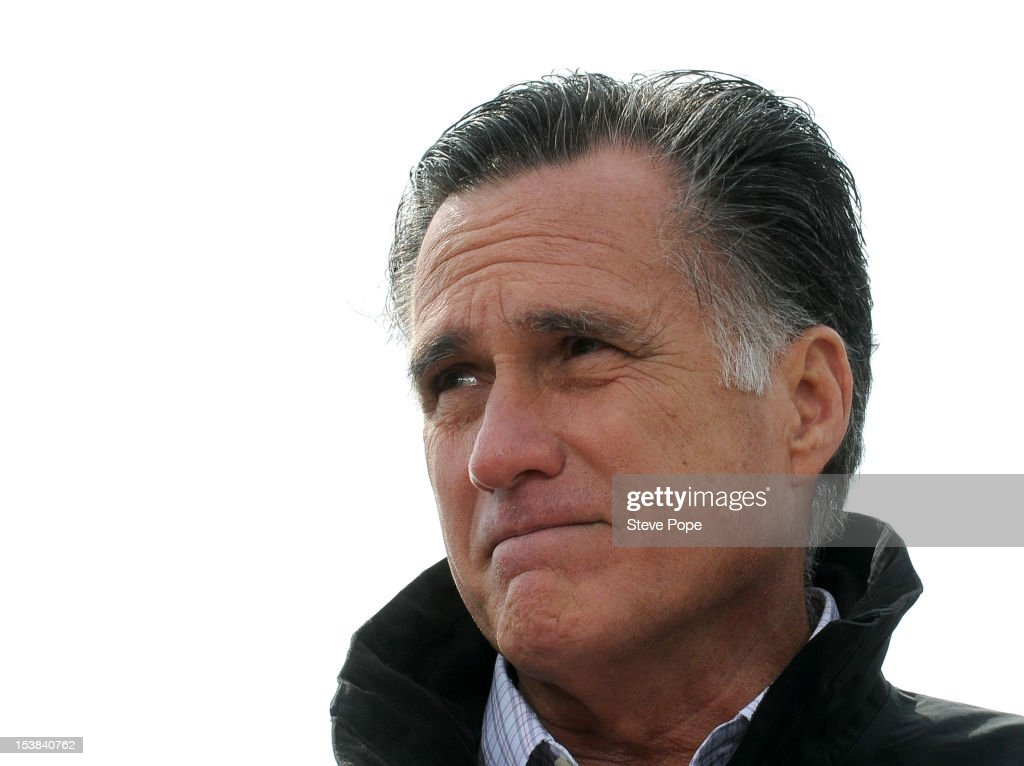 U.S. Republican presidential candidate, former Massachusetts Gov. Mitt Romney speaks to supporters at a rally on a farm on October 9, 2012 near Van Meter, Iowa. Romney is campaigning in Iowa with four weeks to go before the general election.
